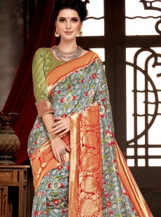 Sunshine Multi Colour Bhagalpuri Silk Saree