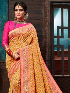 Sunshine Mustard Patora Silk Saree