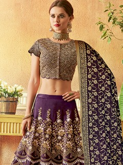 Sunshine Purple Colour Embroidery Designer Lehenga Choli