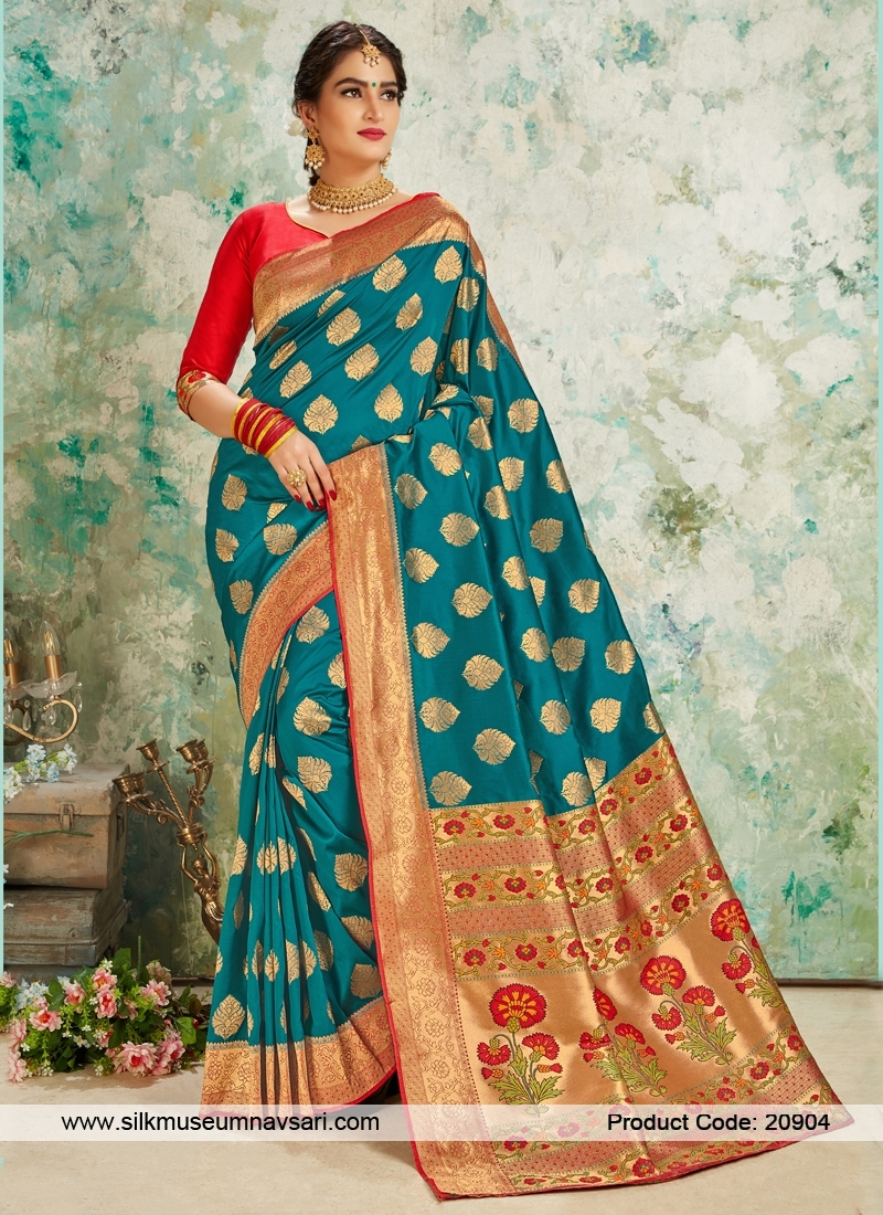 Trendy Rama Colour Silk Saree