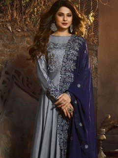 Trendy Steel Grey Satin Silk Suit