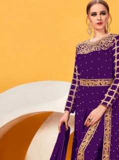 Vibrant Dark Violet Embroidery Suit