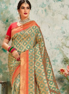Vibrant Light Green Colour Silk Designer Saree
