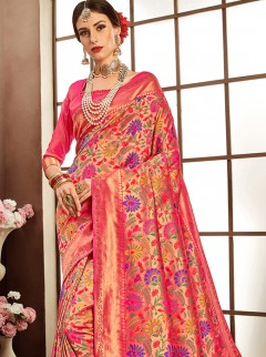 Vibrant Weaving Silk Designer Saree