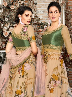 Wonderful Cream Digital Printed Lehenga