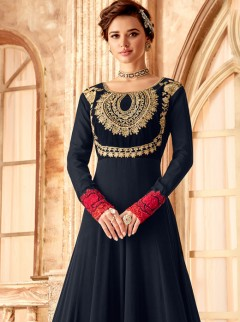 Wonderful Navy Blue Colour Silk Gown