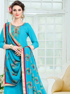Wonderful Resham Work Party Wear Suit