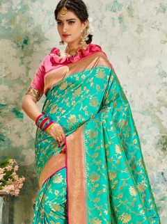 Wonderful Turquoise Jaal Weaving Saree