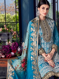 Adorning Royal Blue Lakhnavi Embroidery Suit