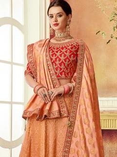Alluring Peach Colour Silk Designer Lehenga