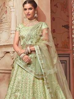 Alluring Pista Green Silk Lehenga