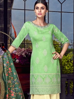 Alluring Silk And Lakhnavi Embroidery Suit