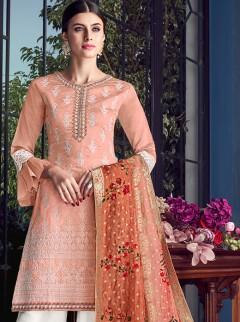 Amazing Peach Colour Embroidery Designer Suit