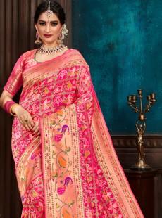 Appealing Hot Pink Weaving Print Saree