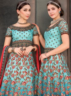 Appealing Sky Blue	Colour Designer Lehenga Choli