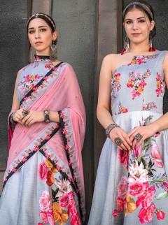 Beautiful Grey Colour Flower Print Designer Lehenga
