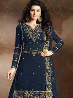 Blooming Navy Blue Colour Designer Suit