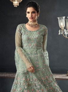 Blooming Pista Green Embroidery Gwon