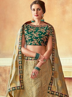 Classical Gold And Green Colour Lehenga Choli