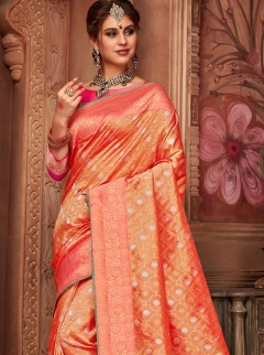 Dainty Orange Colour Wedding Designer Saree