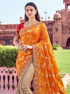 Designer sarees orange with beige combilation half half saree