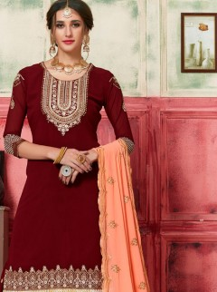 Dignified Maroon Wedding Plazzo Suit