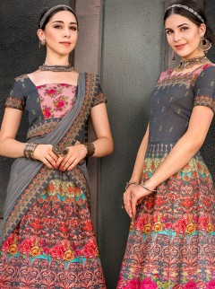 Efficient Dark Gray Colour Heritage Silk Designer Lehenga