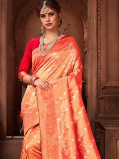 Efficient Red Colour Silk Designer Saree