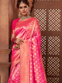 Elite Pink Colour Weaving Designer Saree