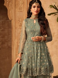 Excellent Net And Front And Back Embroidery Suit