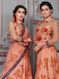 Fashionable Salmon Colour Printed Lehenga