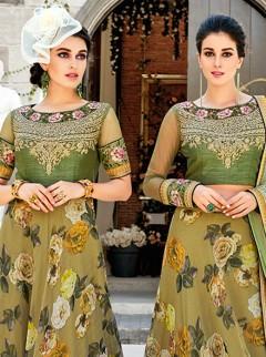 Glamorous Mehendi Colour Digital Print Lehenga