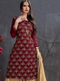 Glamorous Satin Georgette Designer Gharara Suit