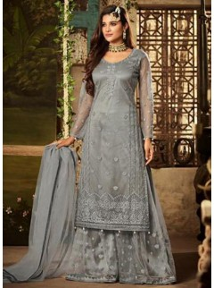 Gorgeous Grey Colour Net Designer Suit