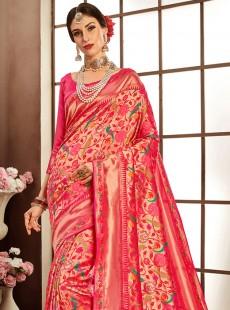 Gorgeous Light Pink Colour Weaving Saree