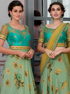 Impassioned Pista Green Colour Designer Lehenga