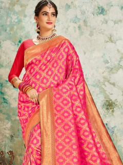 Initializing Hot Pink Weaving Silk Designer Saree