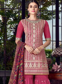 Lovely Lakhnavi Embroidery Designer Palazzo Suit