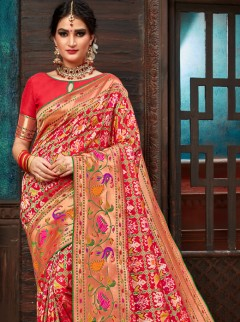 Lovely Red Colour Patora Silk Festival Saree