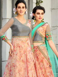 Magnificent Pink Digital Print Lehenga