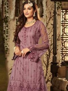 Magnificent Violet Colour Net Palazzo Suit