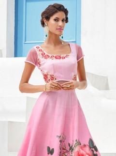 Opulent Look Pink Colour Silk Designer Suit