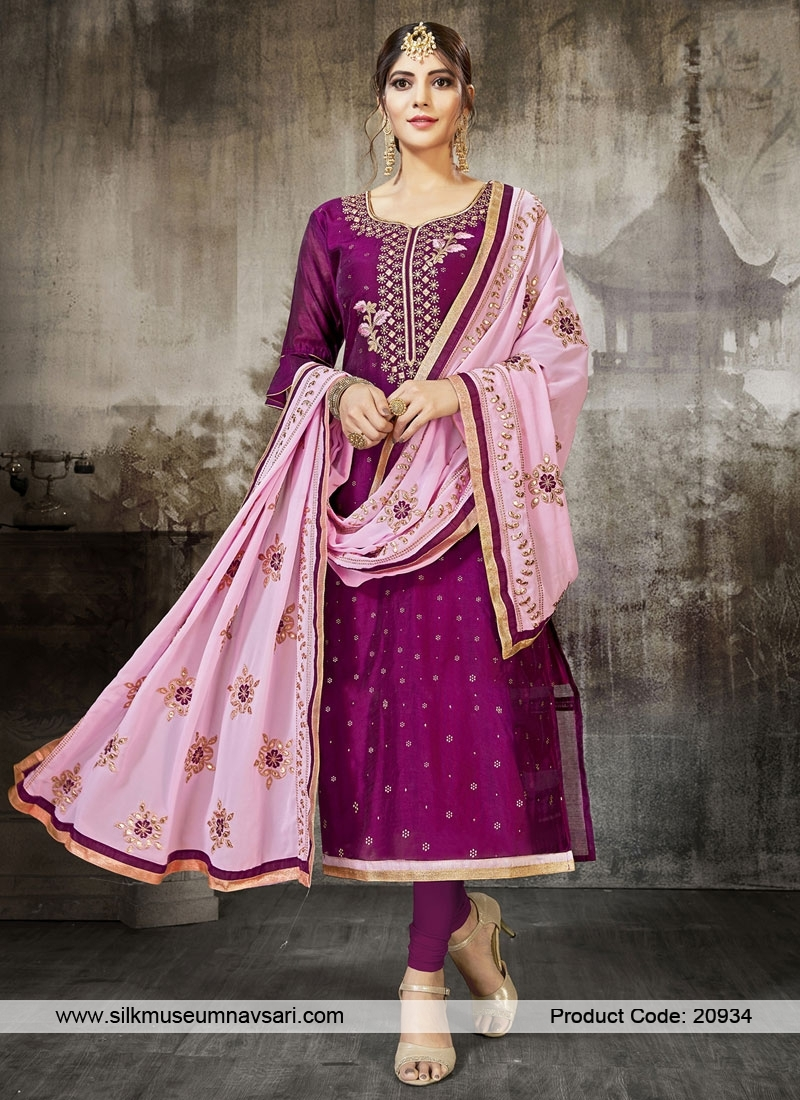 Outstanding Magenta Color Party Wear Suit