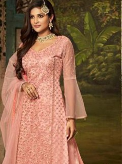 Outstanding Pink Colour Net Designer Palazzo Suit