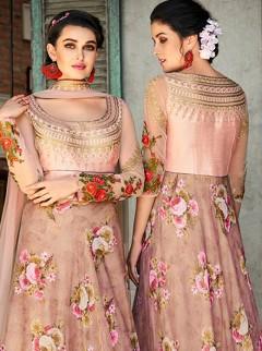 Outstanding Rosy Brown Digital Printed Lehenga