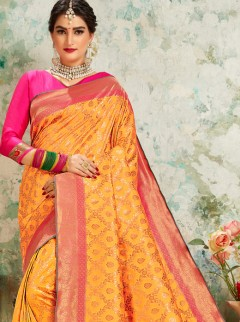 Ravishing Yellow Colour Designer Pallu Saree