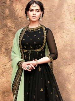 Regal Black Colour Embroidery Buti Work Suit