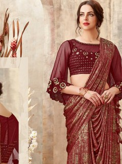 Regal Maroon Colour Fancy Fabric Designer Saree