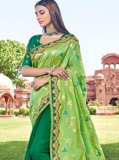 Royal Green Banarasi Brocade Silk Sarees