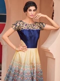 Sensational Look Silk Multicoloured Designer Suit